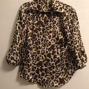 Leopard-print Button-up Blouse